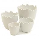Ceramic egg open college, height 13cm, diameter 13